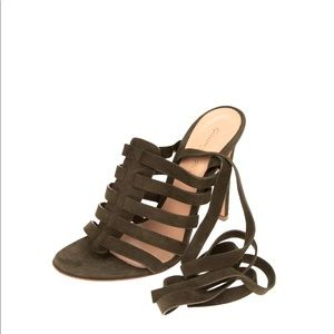 GIANVITO ROSSI Leather Ankle Tie Sandals 37.5